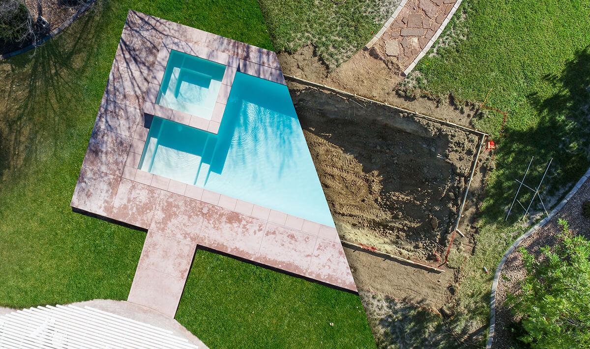 Avant/après piscine enterrée