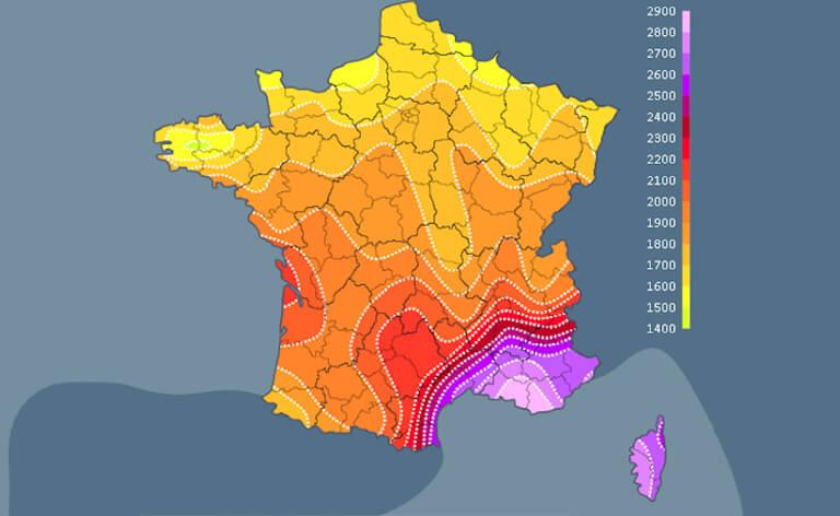 Carte soleil en France