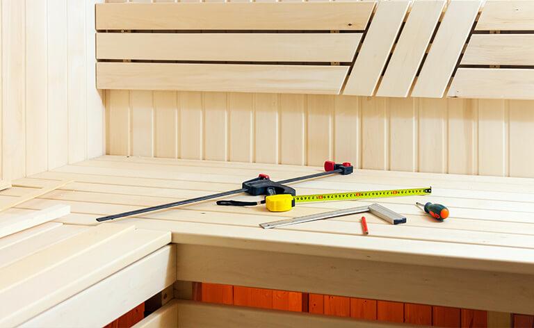 Outils pour le montage d'un sauna